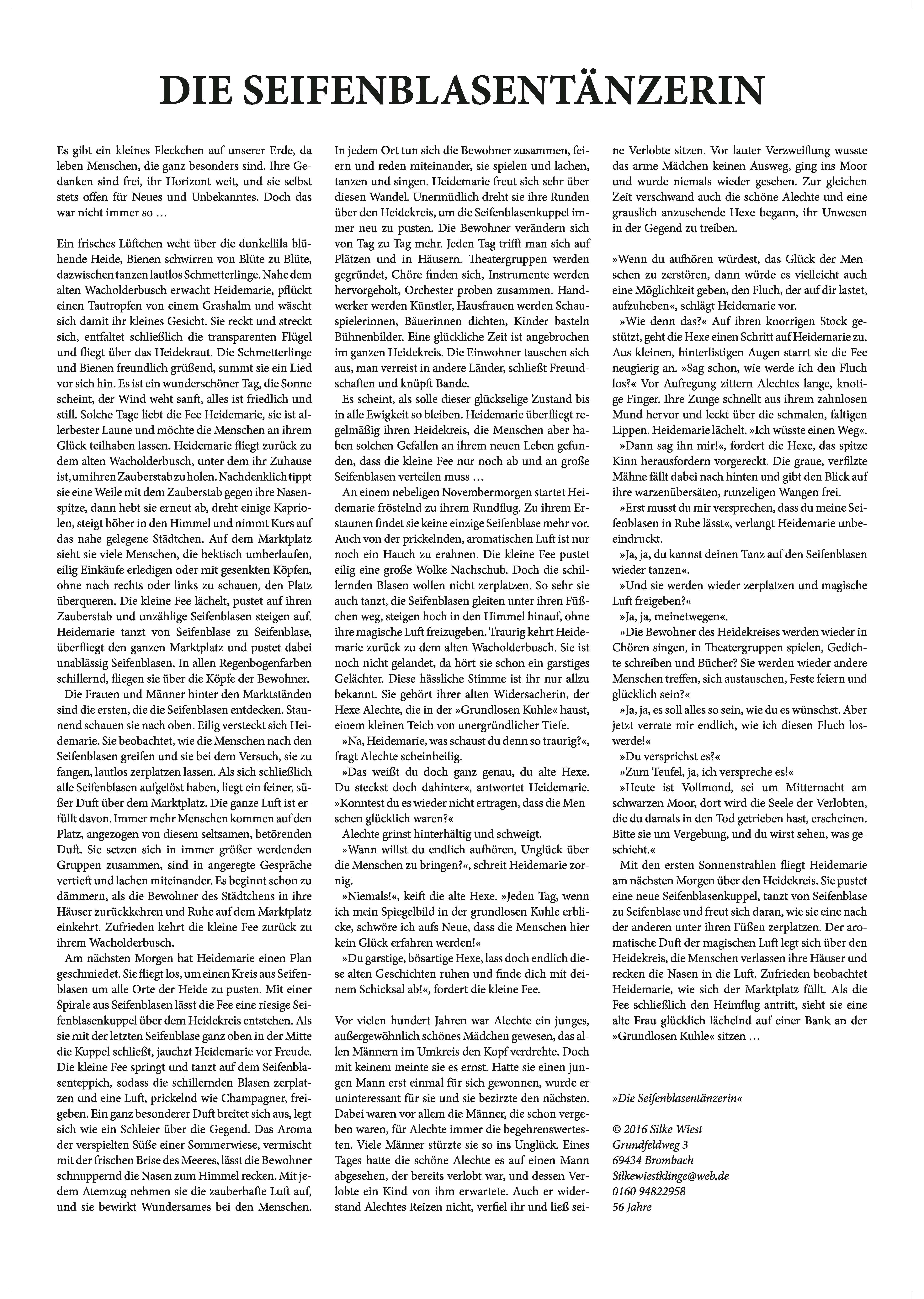 Die Seifenblasentänzerin von Silke Wiest und Ann-Kathrin Busse